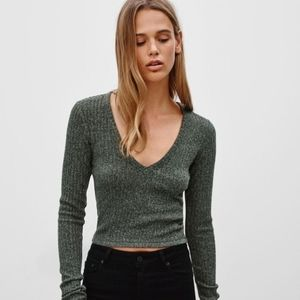 Wilfred Free Ribbed Bittar Cropped Sweater